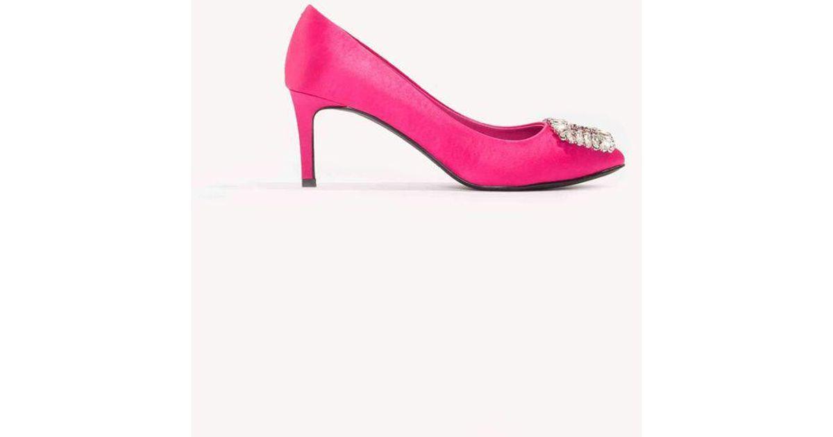 720143a2959 NA-KD Pink Embellished Mid Heel Satin Pumps Magenta