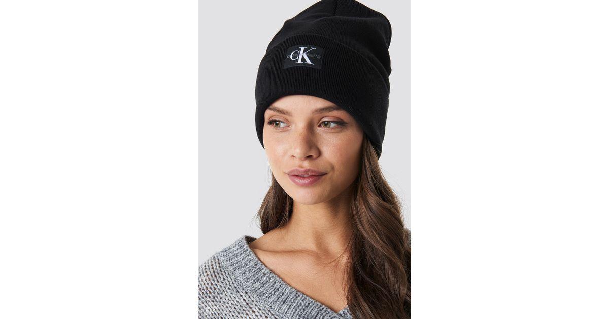 Lyst - Calvin Klein J Monogram Beanie Hat in Black - Save 20% 5cf616caab8