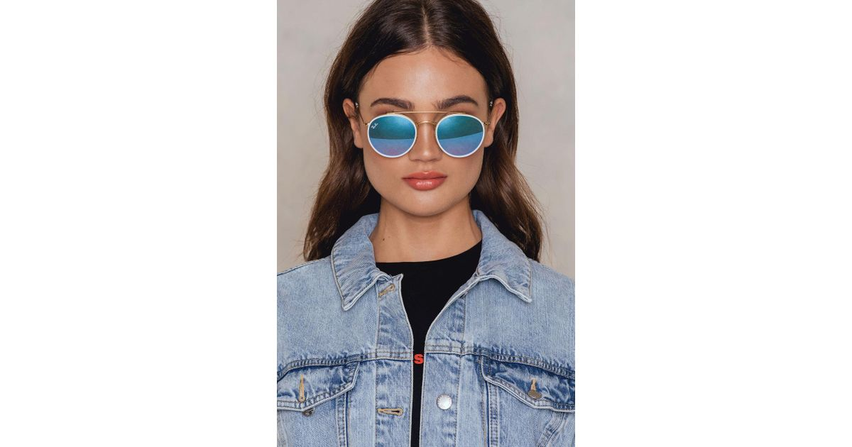 efa296bf67a Ray-Ban Round Double Bridge in Blue - Lyst