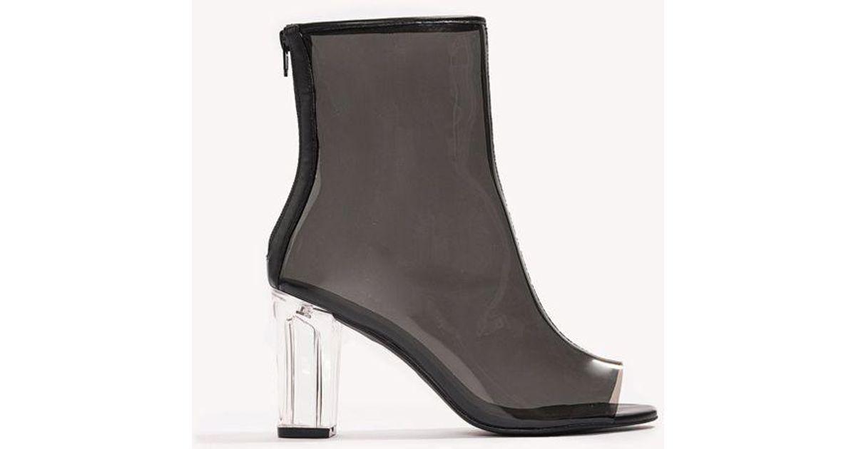 7681b5852b1 Lyst - NA-KD Transparent Mid Heel Boots in Black