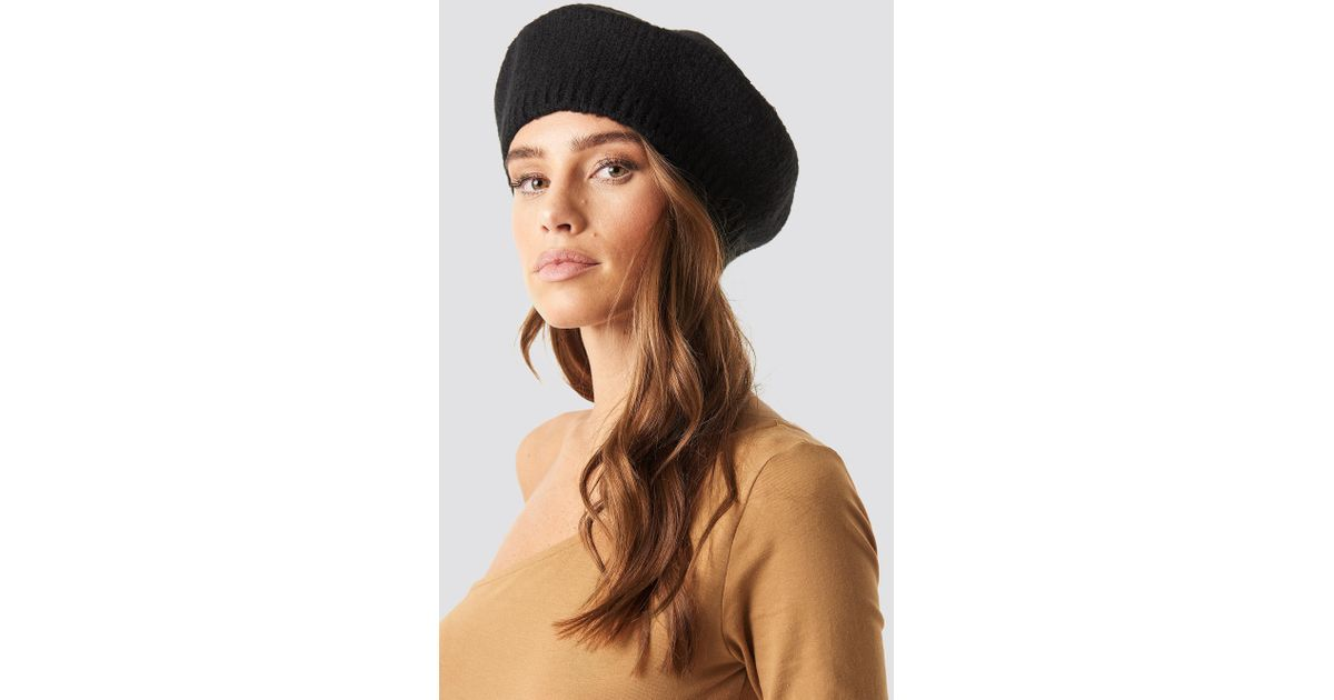 95a7ced1ae9de NA-KD Knitted Beret Hat Black in Black - Lyst