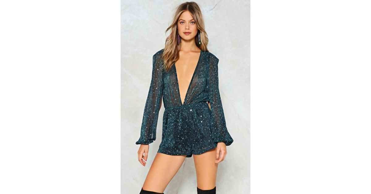 50382c00e719 Lyst - Nasty Gal Boogie Wonderland Metallic Romper in Blue