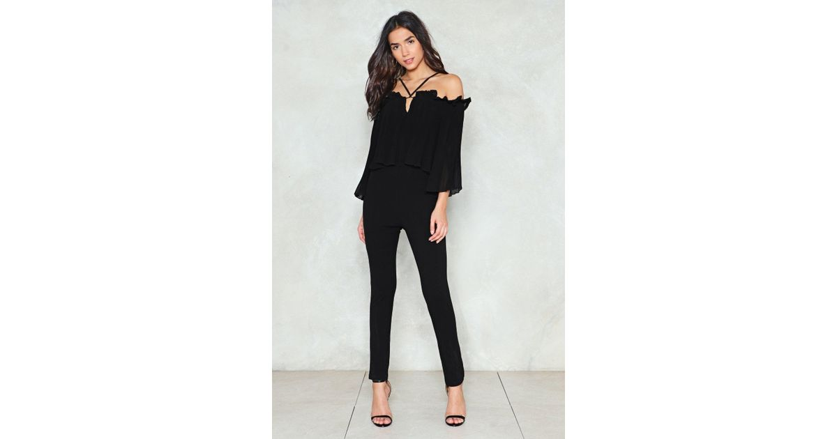 b64e1ba28681 Lyst - Nasty Gal Pleated Strappy Jumpsuit Pleated Strappy Jumpsuit in Black