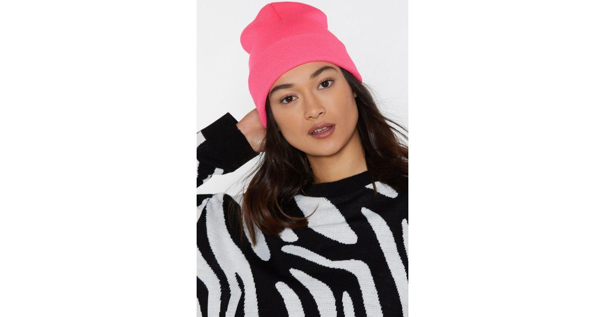 14366c408b5 Nasty Gal Rave It Up Neon Beanie in Pink - Lyst