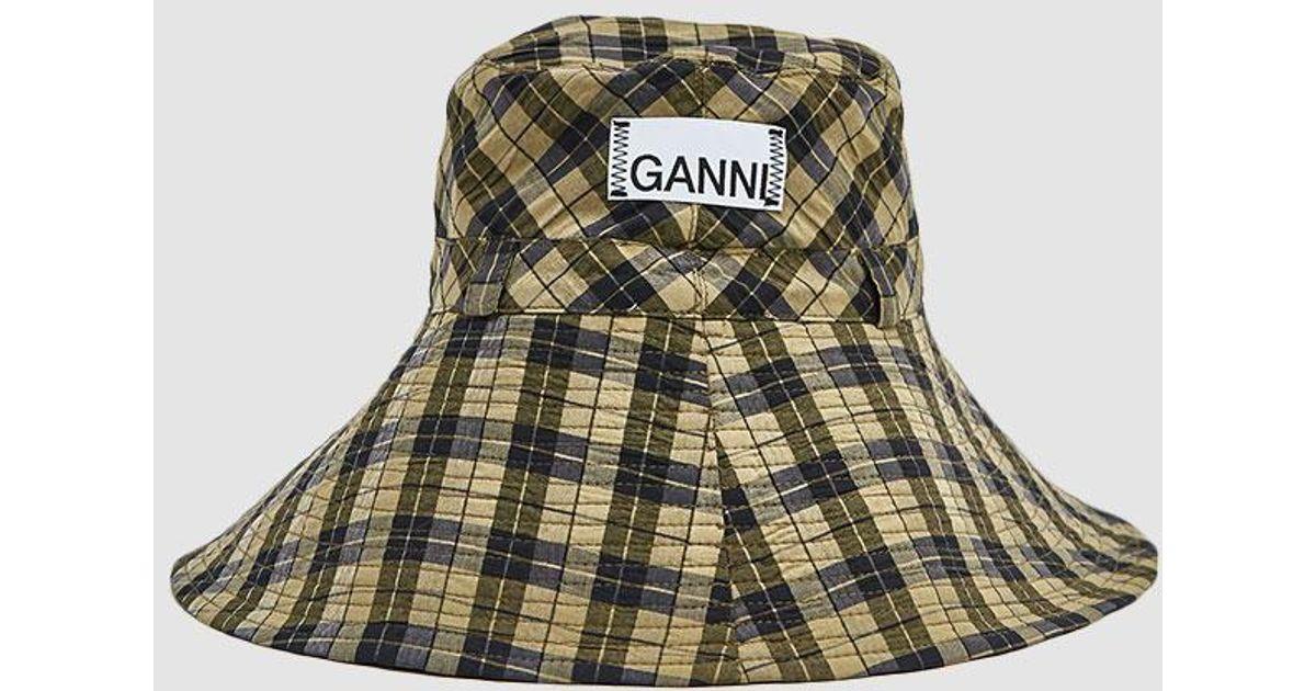 002a2bb6a77df Ganni Seersucker Check Hat in Green - Lyst