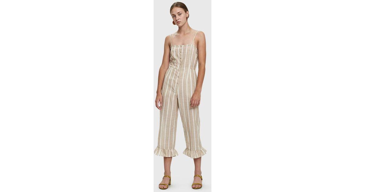 3ba0c457e58d Lyst - Farrow Jaime Striped Cotton Jumpsuit in Natural