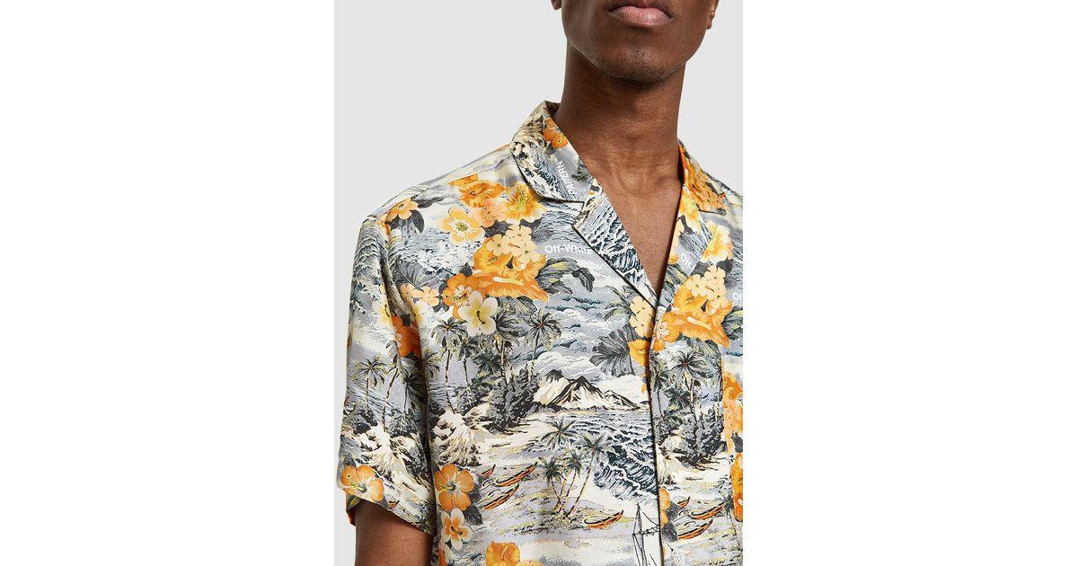d62788a5 Off-White c/o Virgil Abloh Black & Orange Hawaiian Shirt for Men - Lyst