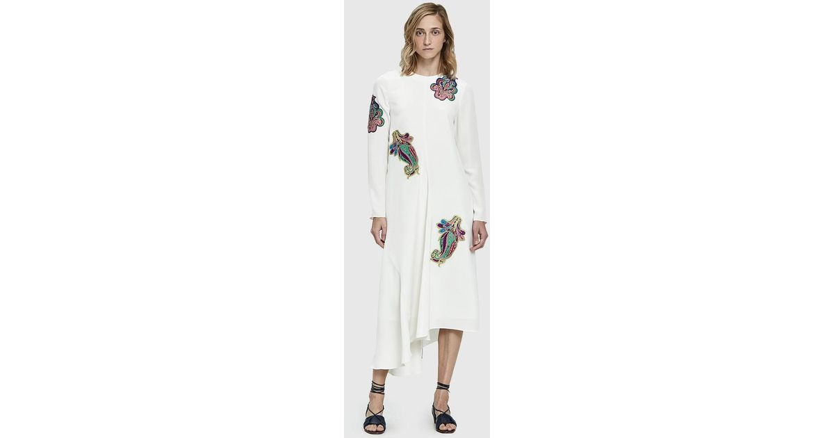 1adcde015107 Lyst - Tibi Paisley Patch Dress in White