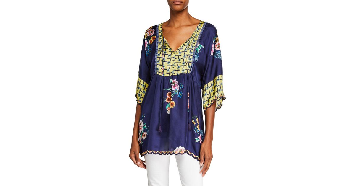 9e540fafbbd Lyst - Johnny Was Plus Size Zaline Tie-front Silk Twill Easy Tunic in Blue  - Save 9%