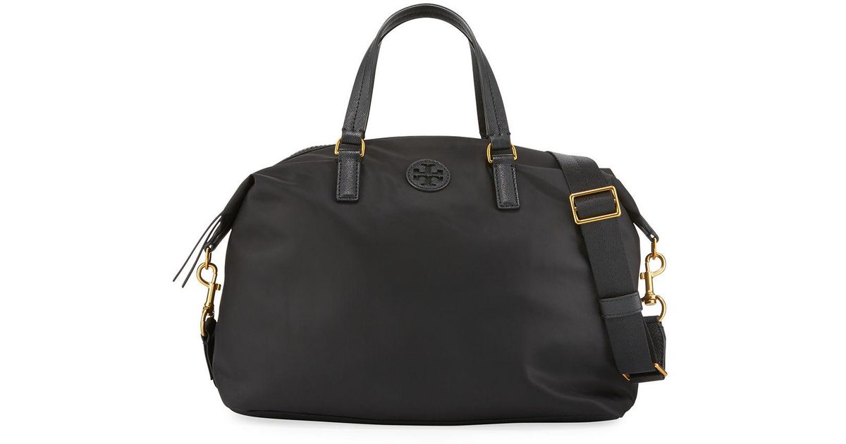 7481f03a93 Tory Burch Scout Slouchy Nylon Satchel Bag in Black - Lyst