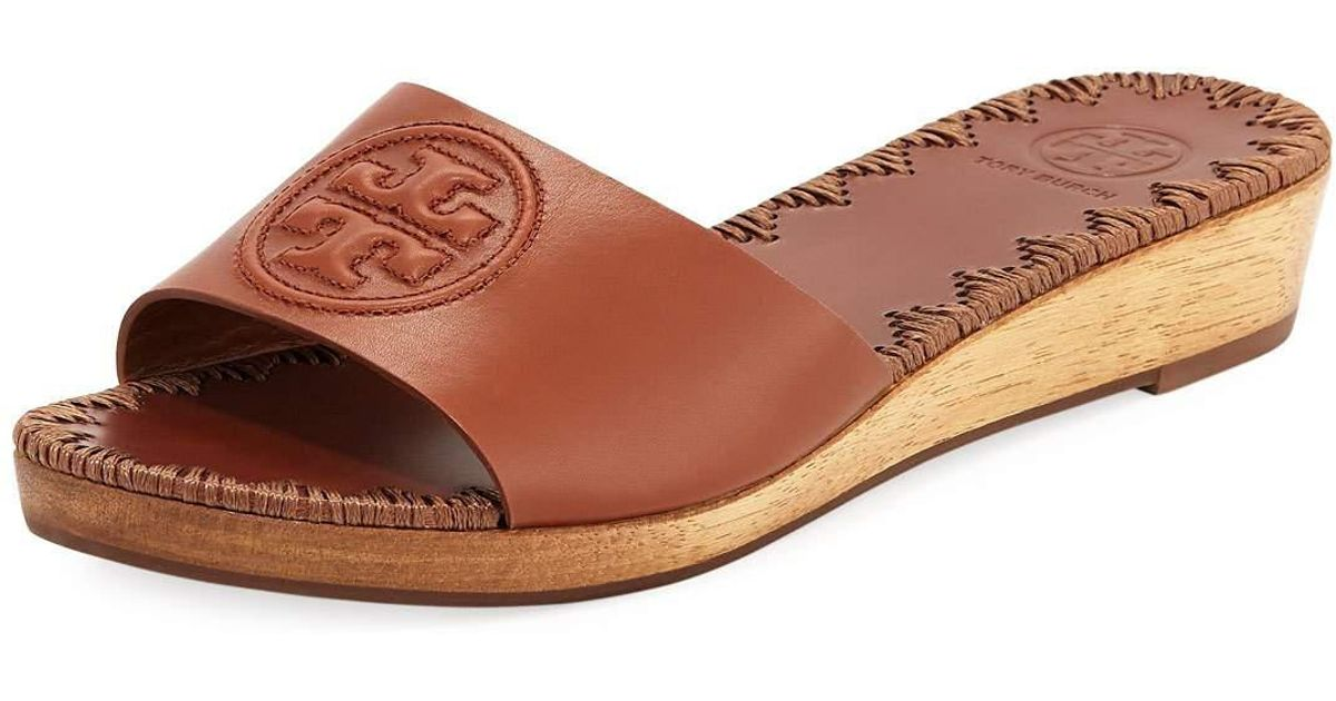 aac43a11875 Lyst - Tory Burch Patty Logo Wedge Slide Sandal in Brown
