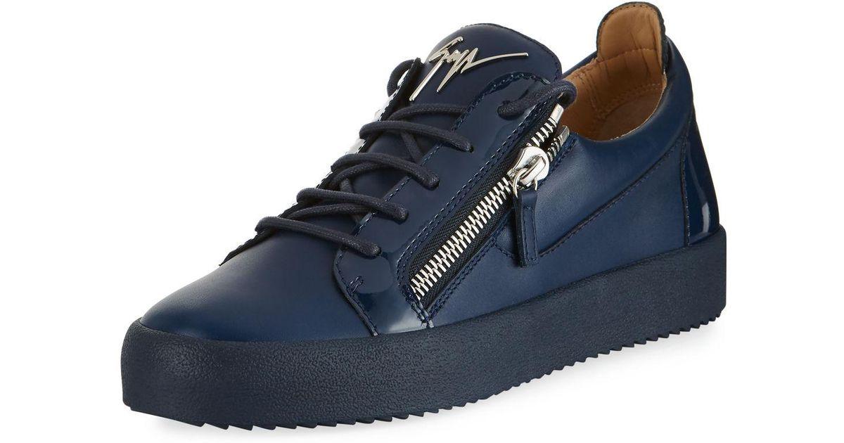 538b67867a13 Lyst - Giuseppe Zanotti Men s London Double-zip Leather Low-top Sneakers in  Blue for Men