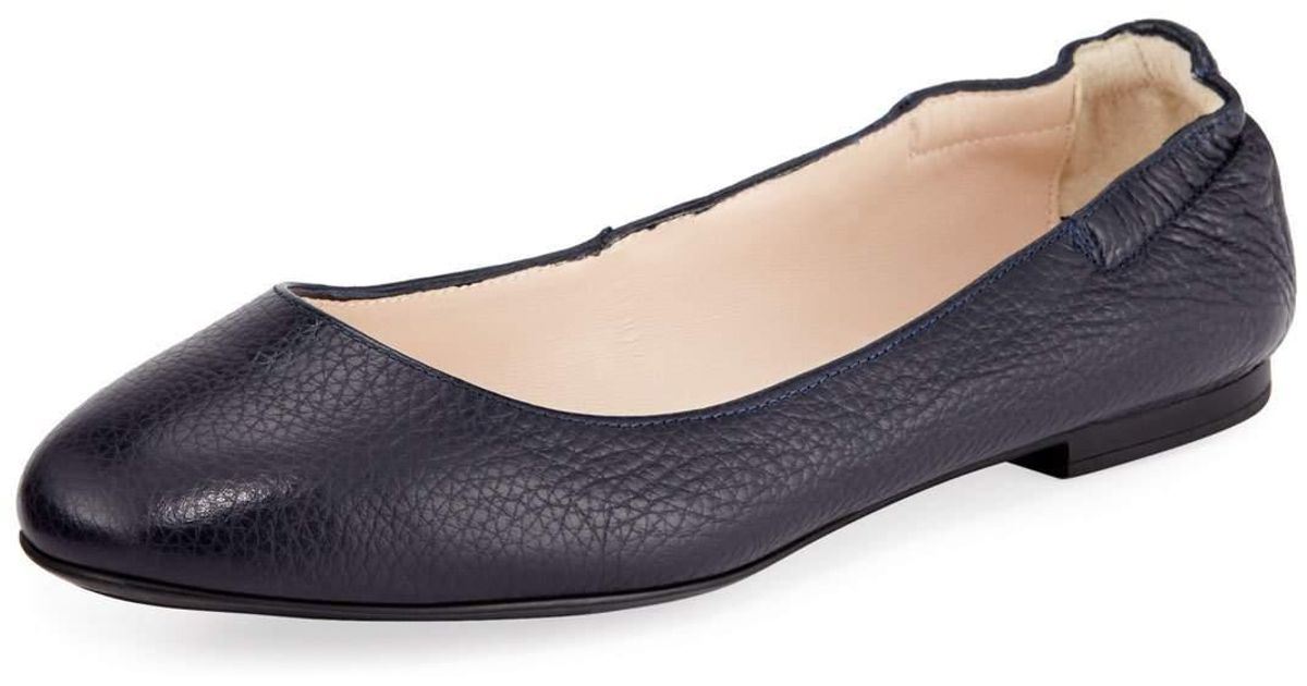 0c07b6631 Sesto Meucci Ackley Leather Ballet Flats Navy in Blue - Lyst