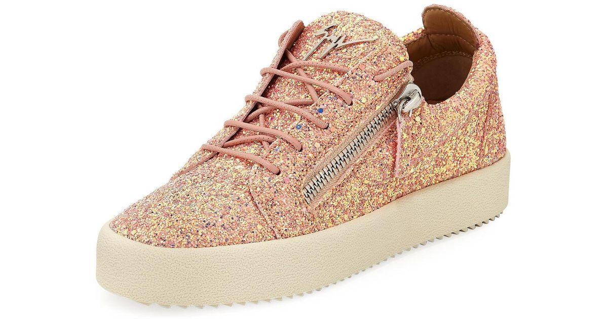 0c63282bd72 Lyst - Giuseppe Zanotti May Coarse Glitter Platform Sneakers