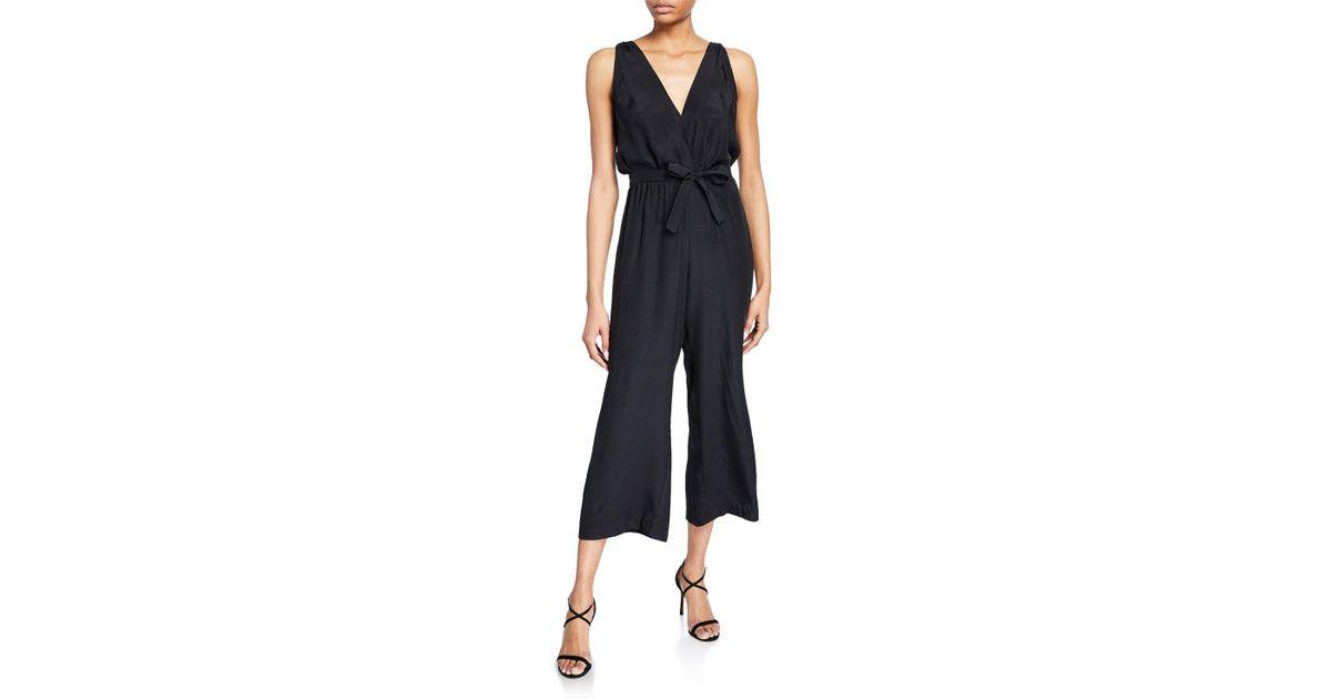 5ac017f2a083 Lyst - Amanda Uprichard Gunnar Sleeveless Cropped Silk Jumpsuit in Black