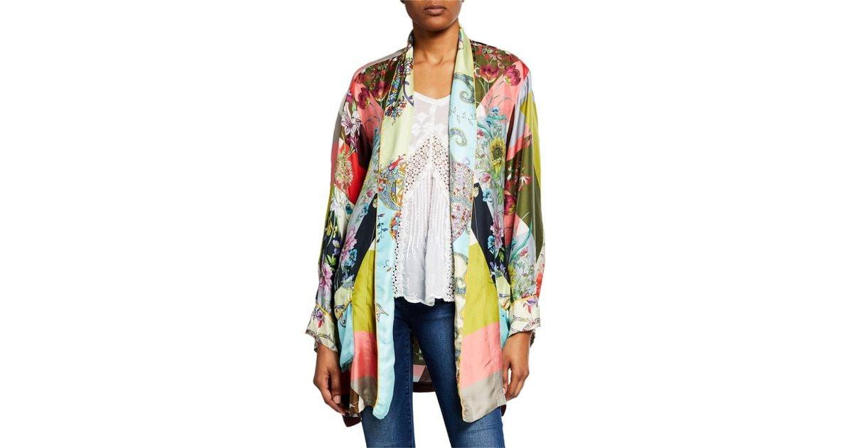 e46888e4070 Lyst - Johnny Was Plus Size Flower Block Long-sleeve Silk Kimono Robe