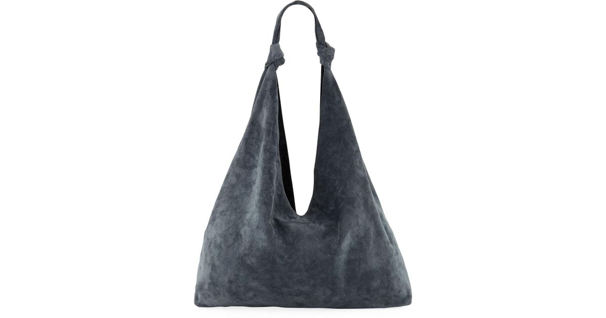 1ddbb0a64c Lyst - The Row Bindle Double-knots Suede Hobo Bag in Blue