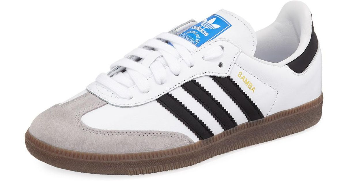 3368597ae ... netherlands lyst adidas samba original leather suede sneakers in white  for men 92fd7 b0a82