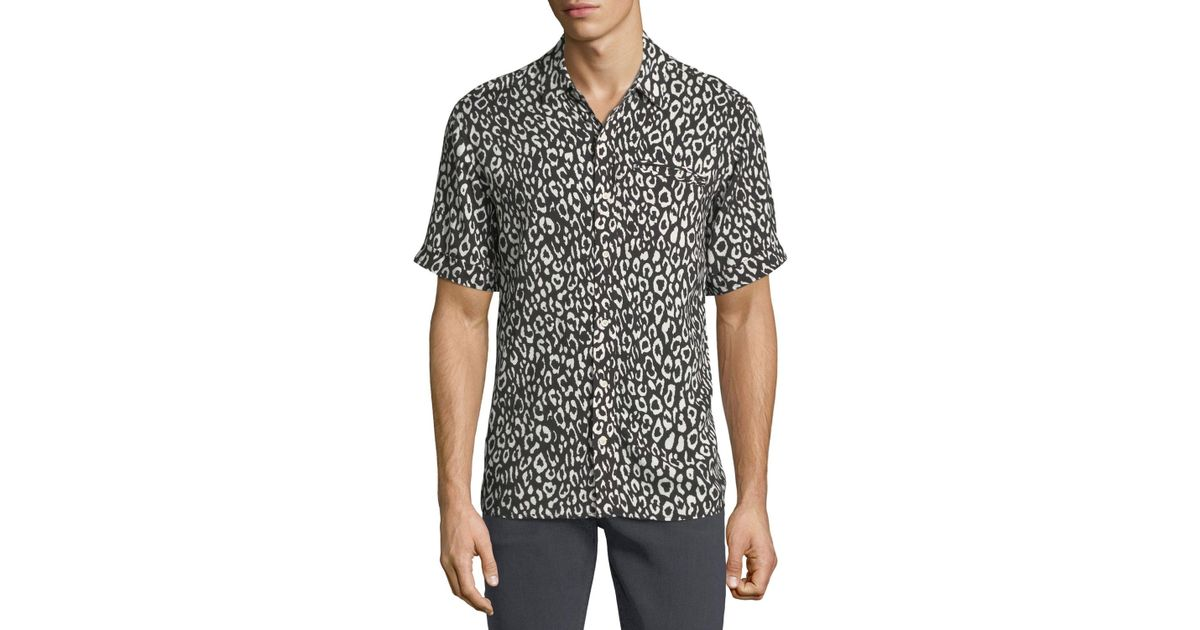 9fcd47f2600d Lyst - Ovadia And Sons Camp Leopard-print Short-sleeve Shirt in Black for  Men