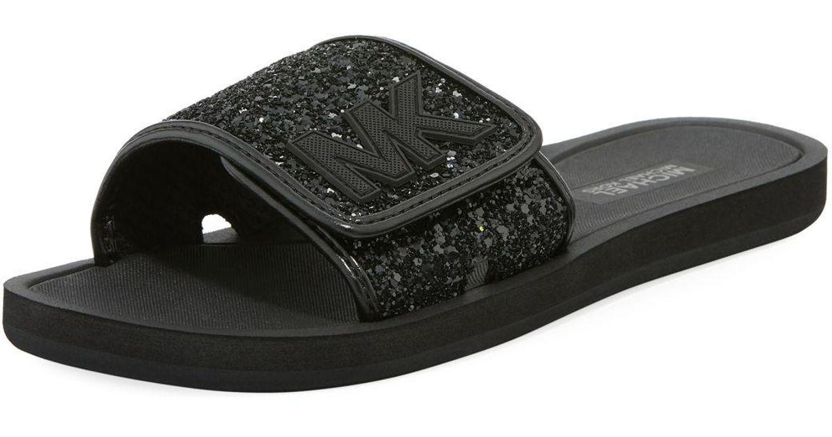 6e425bbe3902 Lyst - Michael Kors Mk Slide Flat Sandals in Black