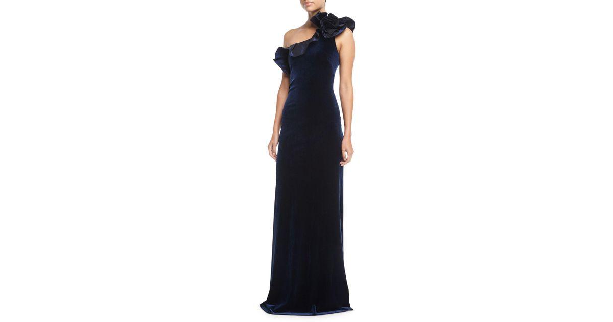 Lyst - Teri Jon One-shoulder Taffeta Ruffle Velvet Evening Gown in Blue