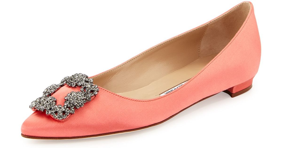 02f775c0caa7 ... czech lyst manolo blahnik hangisi crystal embellished satin ballet flats  in pink 43c58 54063
