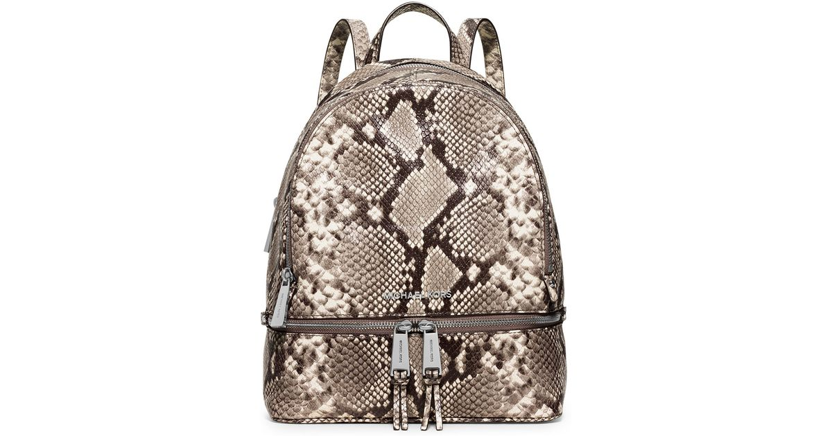 aeec66a4920e5 ... discount code for lyst michael michael kors rhea embossed leather  backpack in natural 404e7 6f76e