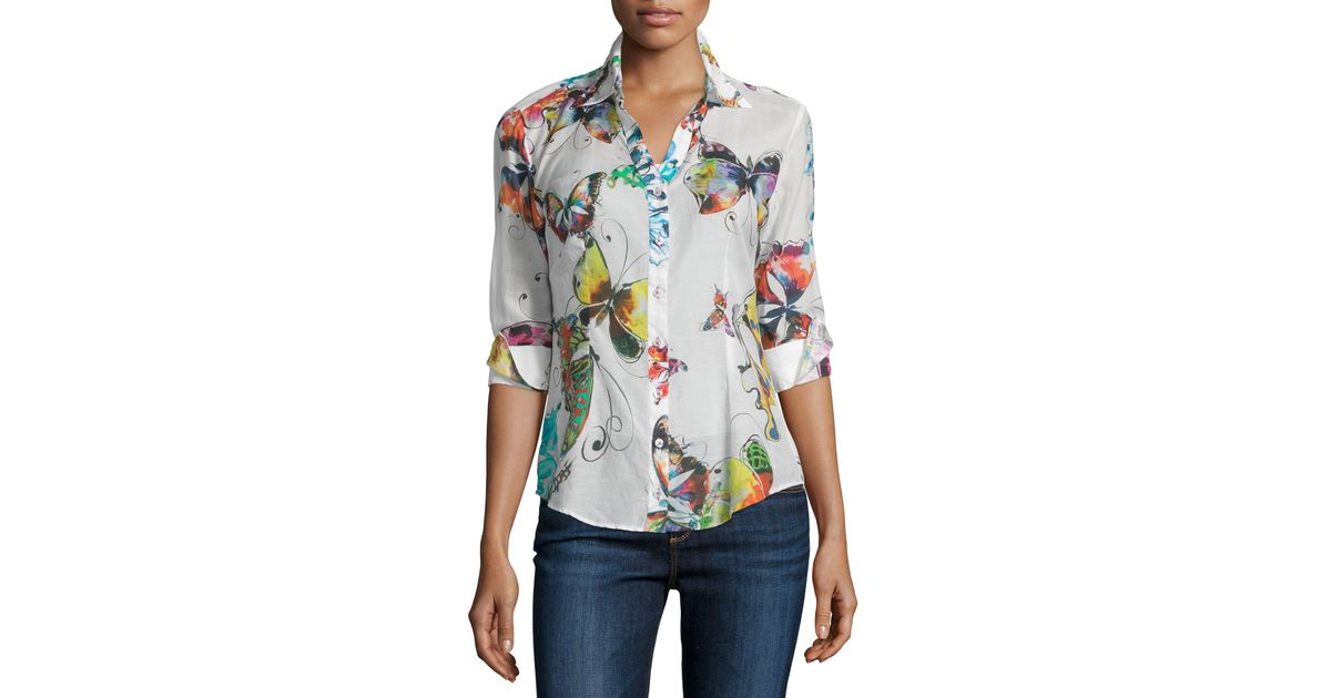 4aa7739893b295 Lyst - Georg Roth Los Angeles Bettina s Butterfly Long-sleeve Blouse