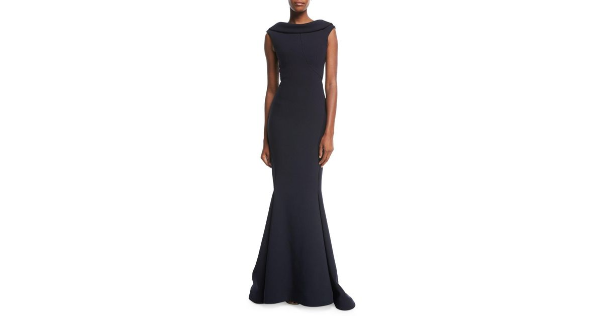 Lyst - Zac Posen High-neck Cap-sleeve Evening Gown in Black