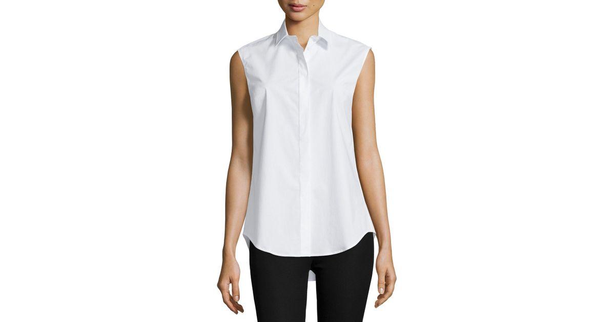 Joseph Sleeveless Collared Poplin Shirt In White Save 66