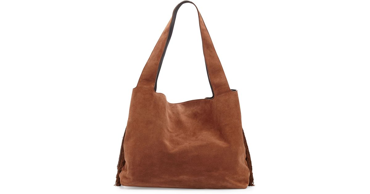 addfbcdc50 Lyst - The Row Duplex Suede Fringe Hobo Bag in Brown