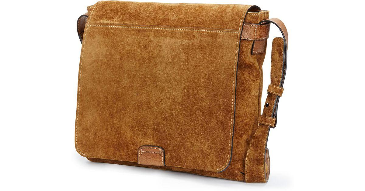 Lyst - Frye Chris Suede Messenger Bag in Brown for Men b45e64e11e0af
