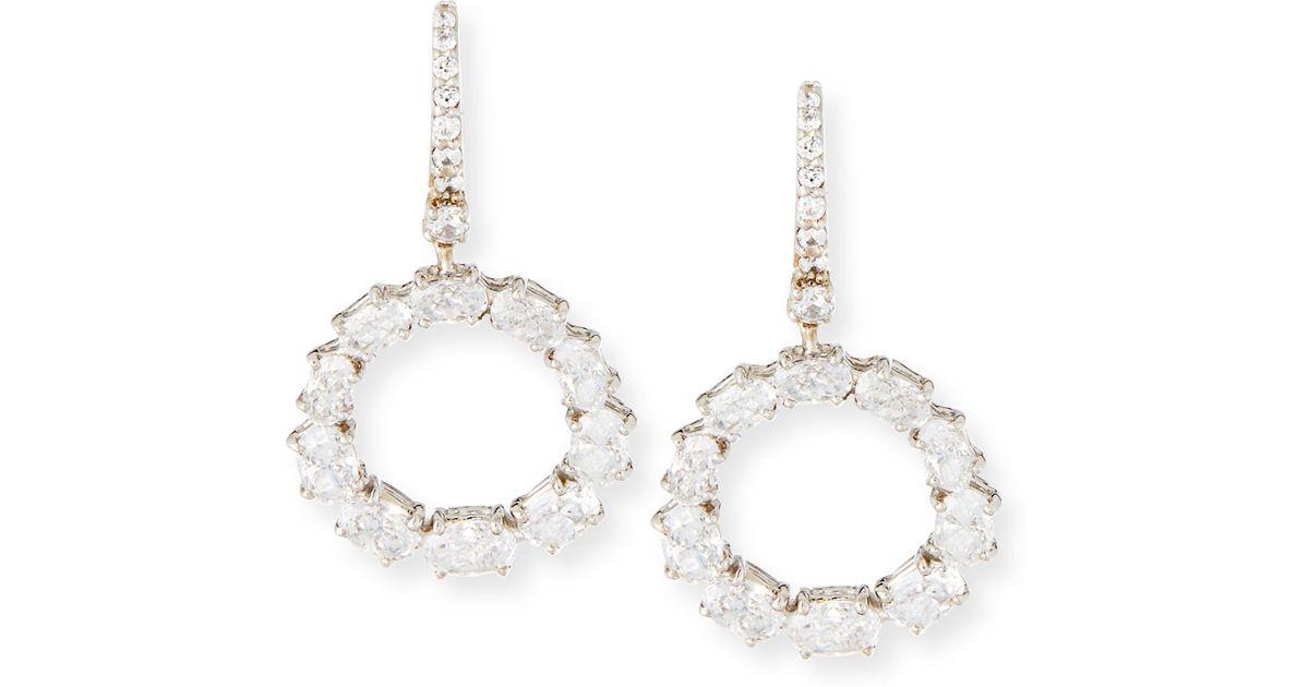 Fantasia Open Circle CZ Crystal Drop Earrings xJpNV