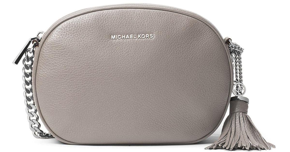 86554c2c32c0 Lyst - MICHAEL Michael Kors Ginny Medium Leather Messenger Bag in Gray