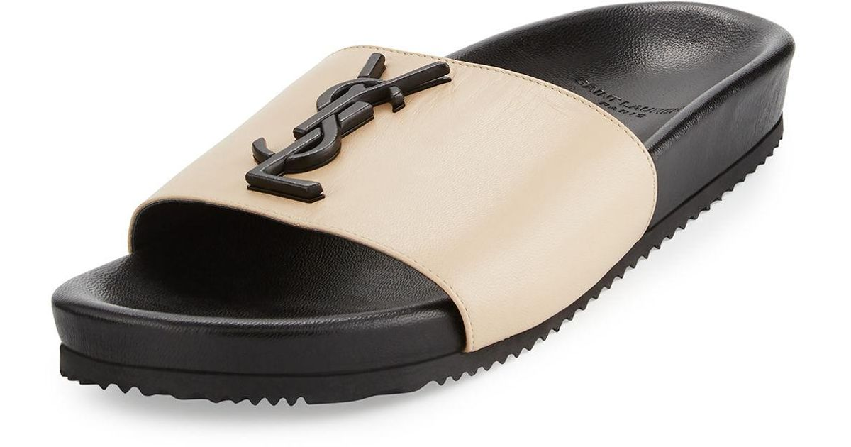cc891ba16 Lyst - Saint Laurent Joan Ysl Brooch Slide Sandal in Natural