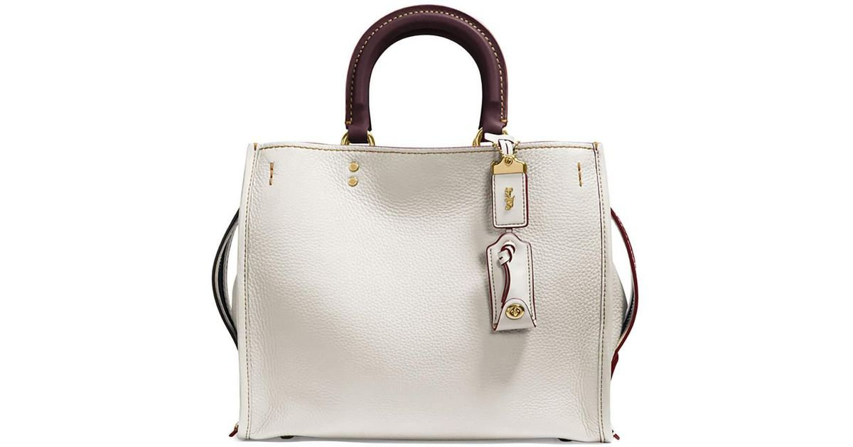 Coach Rogue Small Leather Tote Bag In White Lyst
