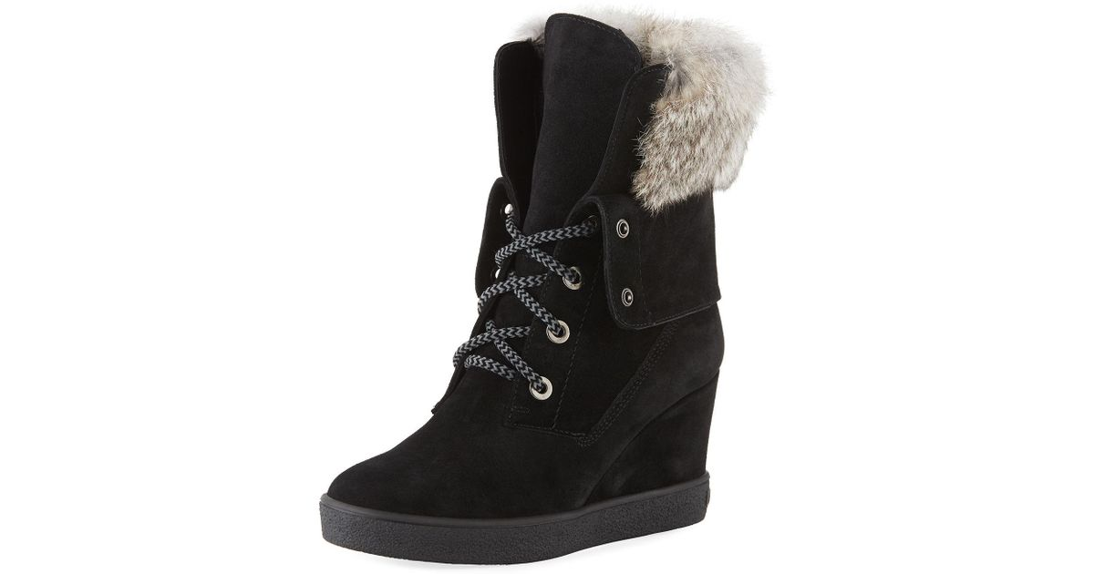 92ee6eb3dbc Lyst - Aquatalia Cordelia High Wedge Boots W  Fur Trim in Black
