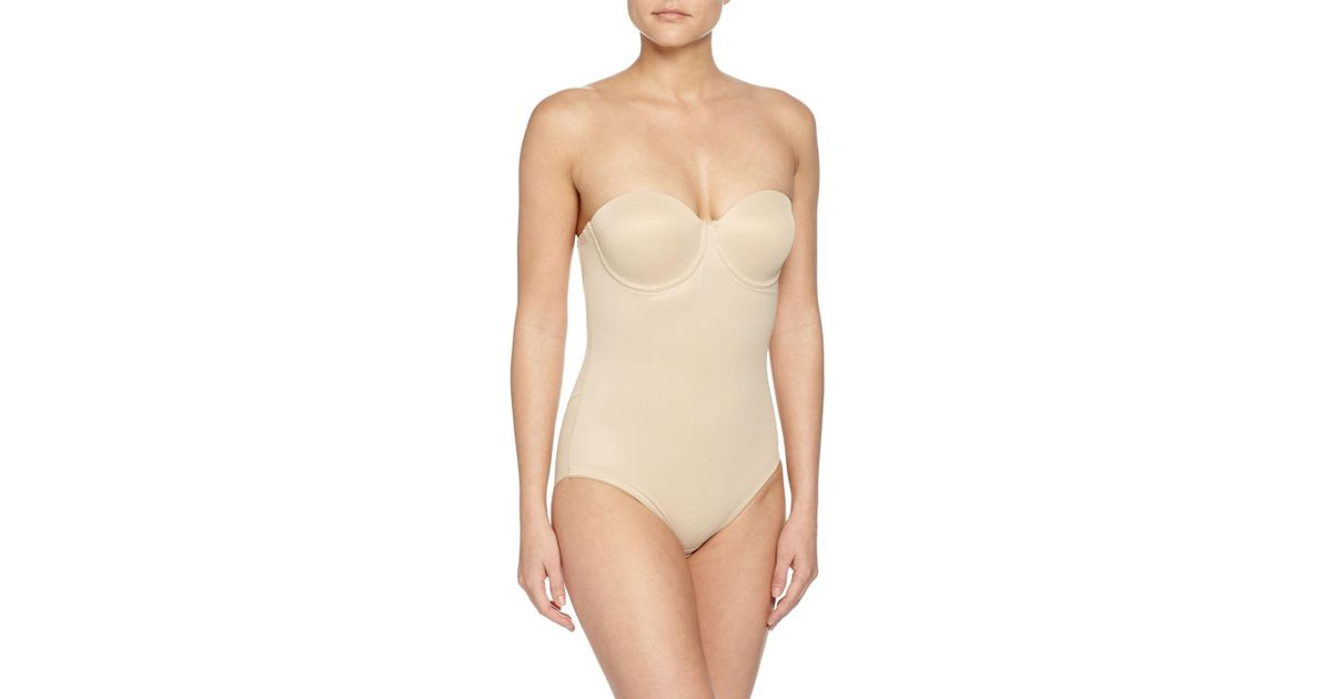 d62ceba8aab39 Lyst - Tc Fine Intimates Sheer Bodybriefer Strapless Shaping Bodysuit in  Natural