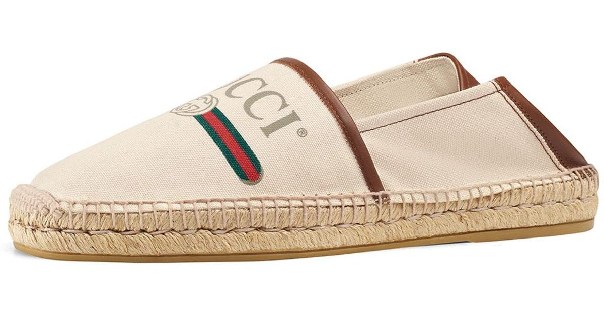9d701d043f30 Gucci Espadrilles Gregorio Canvas Smooth Leather Woven-details Logo  White-combo in White for Men - Save 23% - Lyst