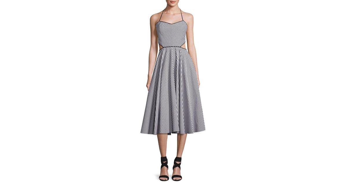 8b60619cc79b Lyst - Michael Kors Striped Cutout Halter Tea-length Dress in Black