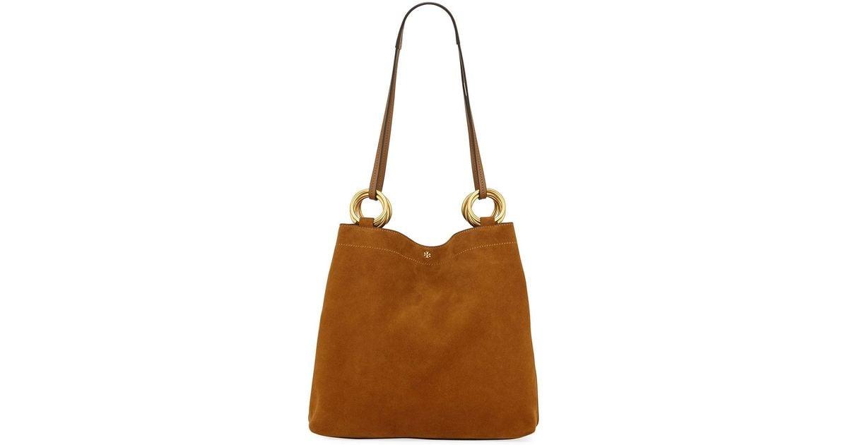 fca80b802062 Lyst - Tory Burch Farrah Silky Suede Shoulder Tote Bag in Brown
