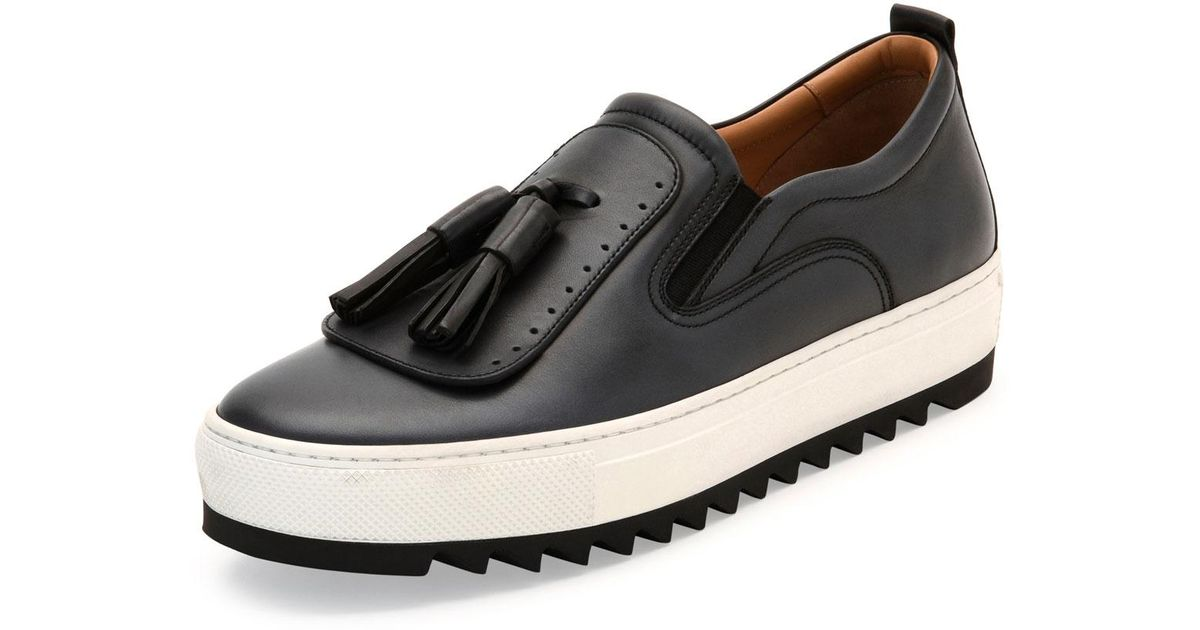 48a6ceb509 Lyst - Ferragamo Lucca Leather Sneaker With Oversized Tassels On Archival  Sawtooth Sole in Gray