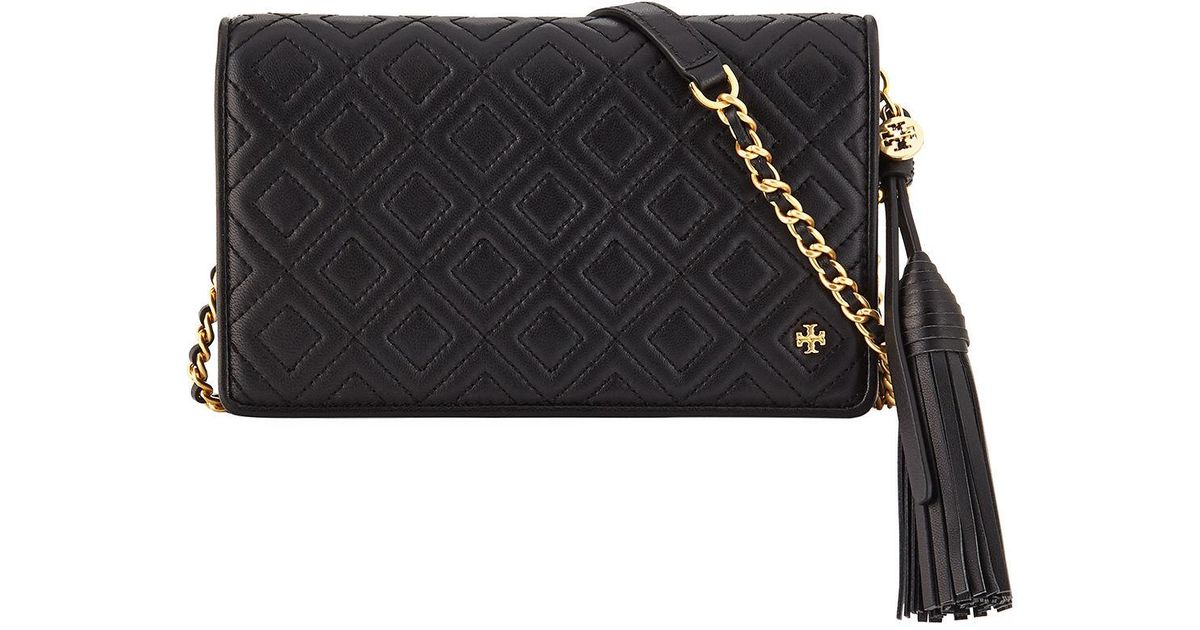 081a39e0cfd3 Lyst - Tory Burch Fleming Quilted Convertible Wallet Crossbody Bag in Black