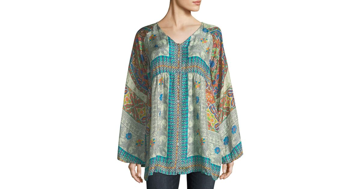 3b5d3613869 Lyst - Johnny Was Mocity Button-front Printed Silk Georgette Tunic in Blue
