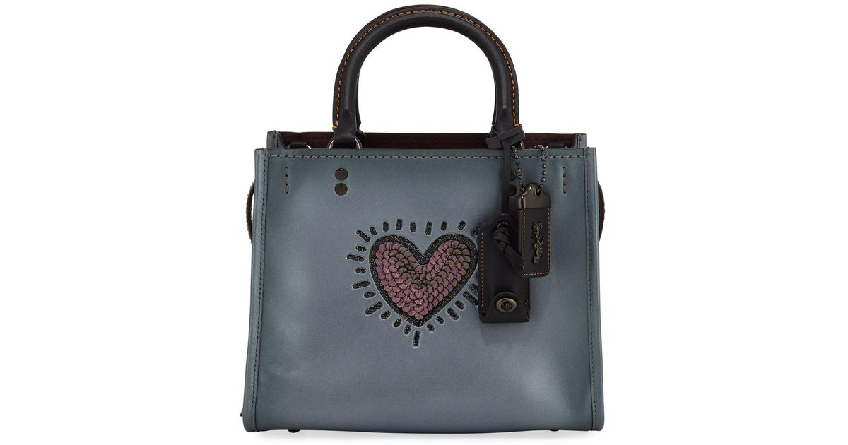 33398165574e Lyst - COACH X Keith Haring Rogue 25 Bag With Sequined Heart in Black