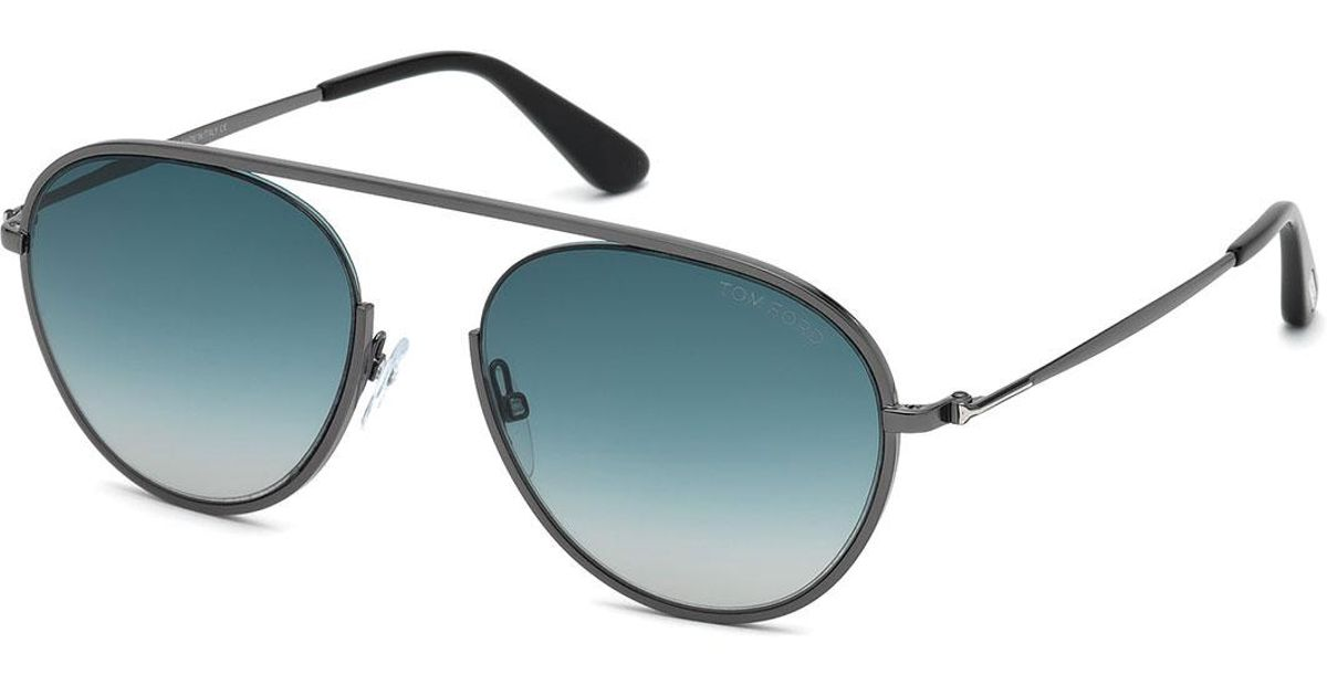 052ee8d718d0 Lyst - Tom Ford Keith Men s Round Brow-bar Metal Sunglasses in Gray for Men  - Save 2%