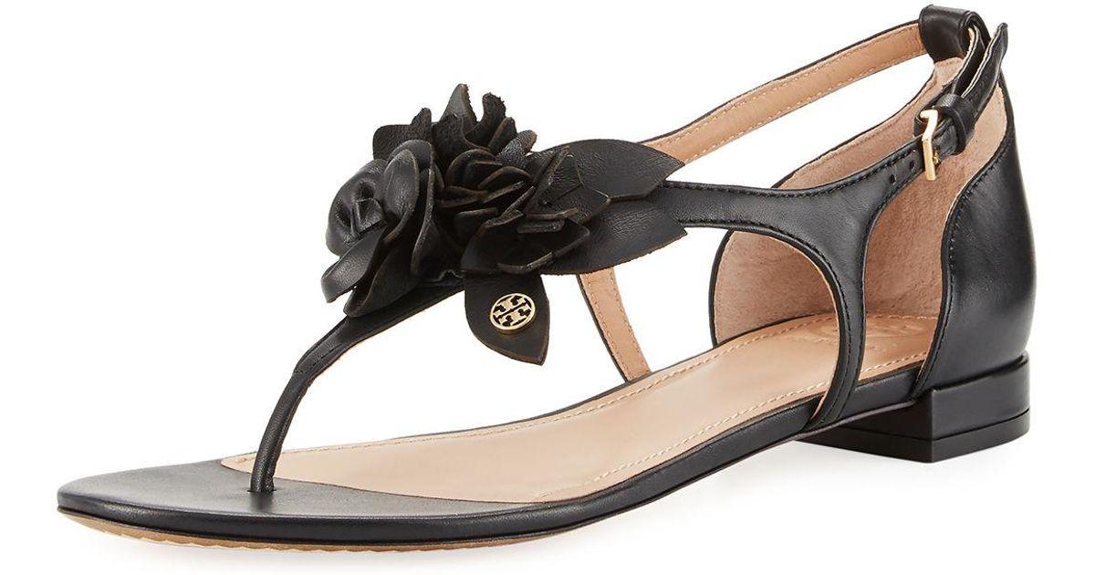 56a6b22892814 Lyst - Tory Burch Blossom Flat Floral Sandal in Black