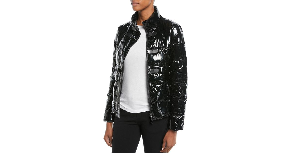 a2cc9cec7d Emporio Armani Black Shiny Quilted Puffer Jacket W/ Hook Closure