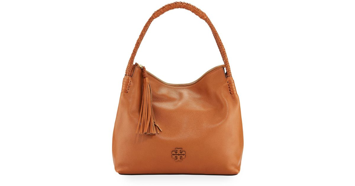 029bb5c48b9 Tory Burch Taylor Pebbled Leather Zip-top Hobo Shoulder Bag in Brown - Lyst