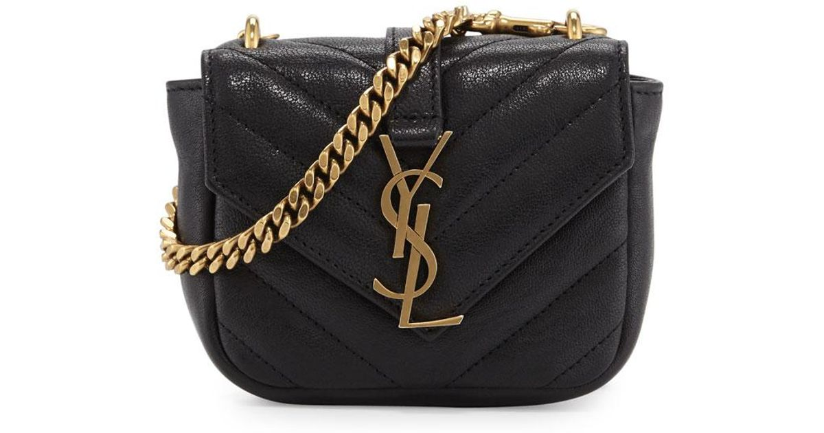 Lyst - Saint Laurent College Mini Matelassé Bag in Black 2ca07311ab95f